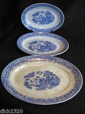 VINTAGE SET of 3 GIBSONS BURSLEM WILLOW PATTERN GRADUATED MEAT PLATES  c.1930s