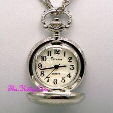 Miniature Collectors Silver Pl Vintage Pocket Half Hunter Pendant Necklace Watch
