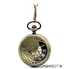 Antique Bronze Mechanical Pocket Watch Steampunk Necklace Unisex Gift Box
