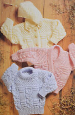 baby aran sweater and cardigan knitting pattern 99p