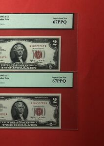 1963A -2 LEGAL TENDER $2  RED SEAL NOTES ,GRADED BY PCGS ,SUPERB GEM NEW 67 PPQ.
