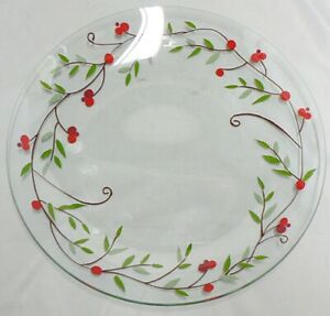 CLEAR GLASS WITH RED BERRIES SERVING PLATTER