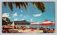 Honolulu HI, Waikiki Beach, Diamond Head, Outriggers, Chrome Hawaii Postcard