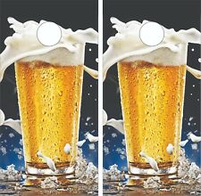 Beer Glass Splash Cornhole Board Skin Wrap Decal SET - LAMINATED