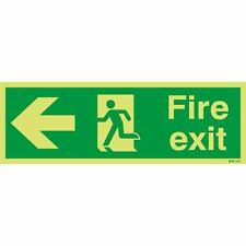 Safety Sign Niteglo Fire Exit Running Man Arrow Left 150x450mm PVC [SR11152]