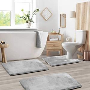 Non Slip 3 Piece Bath Mat & Pedestal Mats Absorbent Home Bathroom Toilet Set UK