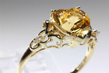 HEART SHAPE 14K YELLOW GOLD LASER CUT CITRINE DIAMOND RING