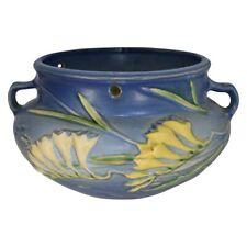 Roseville Pottery Freesia Blue Hanging Basket 471-5