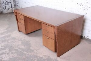 Pierre Paulin for Baker Furniture Maple and Walnut Inlay Art Deco Executive Desk