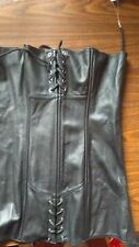 BLACK Lace up GENUINE LEATHER CORSET DRESS, WOMEN'S SIZE 1XL. NEW COND