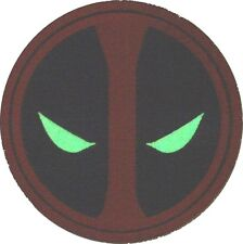 Deadpool Dead Pool Marvel Embroidered BIG Iron On EYES GLOW IN THE DARK PATCH