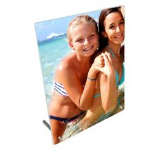 """Personalised Photo, Design Added 8"""" x 10"""" Toughened Glass Panel With Peg Stand"""