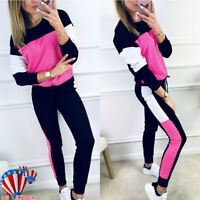 Women Sports Hoodies Sweatshirt Pants Set Running Jogging Tracksuit Casual Suit