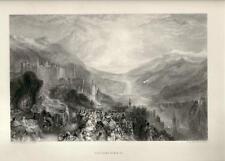 Stampa antica CASTELLO di HEIDELBERG Germany Turner 1880 Alt Stich Old Print