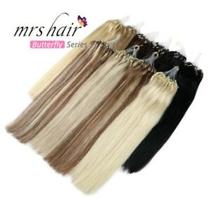 Remy Human Hair Extensions Ombre Loop Micro Ring Silicone Beads 16-26Inch