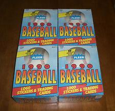 4 1990 FLEER BASEBALL CARD UNOPENED WAX BOXES