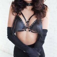 Top Punk Style Rivet Metal O Ring Women Body Harness Sexy Faux Leather Chest Bra