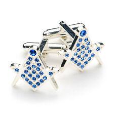 Haute Qualité Bleu Pierre Cristal Maçonnique Franc-Maçon Boutons Manchette