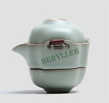 1Teapot + 2 Teacups * High Grade Office or Travel Ru Kiln Gongfu Tea Set w/t Bag