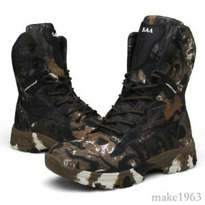 Mens Army High Top Camo Mid Calf Boots Lace-up Outdoor Military Camouflage Shoes