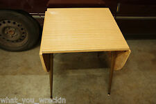 VINTAGE RETRO FOLdING / DROP SIDE TABLE - 1980's 1970's - ANTIQUE TIMBER METAL