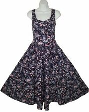 Vintage Laura Ashley 6 Fitted Dress Full Skirt Wide Hem Sweep Floral Cotton