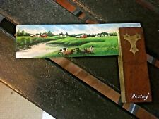 "RARE Vintage Jacob Kass Hand Painted Folk Art COWS ""Resting"" 1989 Signed NICE!"