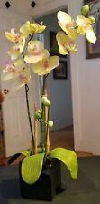 Silk Orchid Phalaenopsis Flower Arrangement Green Artificial Black Lacquer Pot