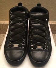 Balenciaga Arena High Top Sneaker Size 39 Black Creased Leather