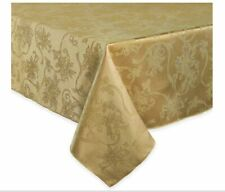 Christmas Ribbons Damask Tablecloth in Gold - Choice of Size