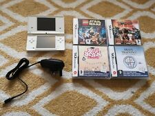 NINTENDO DSi White DS Console with Charger, Stylus & 4x Complete Games