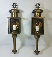 Pair Vtg Brass Outdoor Wall Sconce Fixtures Large Ornate Metal Porch Lights