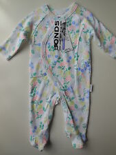 BONDS Baby Girl White Floral Coverall Size 000 Fits 0-3m RRP $28.95 NEW *Gift*