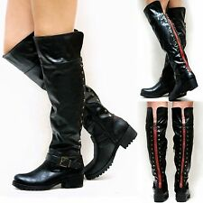 New Women BCp4 Black Studded Red Zipper Over Knee Riding High Boots sz 6 to 11