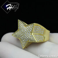 MEN 925 STERLING SILVER LAB DIAMOND ICED OUT BLING GOLD 3D STAR RING*GR107