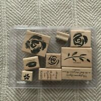 """NIP 9 Pc 2003 Stampin' Up """"Roses In Winter"""" Wood Mt Rubber Stamp Set in Case EUC"""