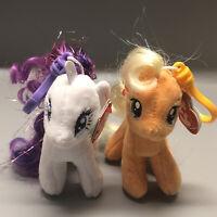 "My Little Pony Rarity & Apple Jack Ty Beanie Babies 4.5"" Clips New W/All Tags"