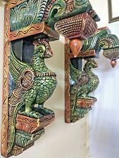 Wall Hanging Bracket Peacock Sculpted Corbel Pair Wooden Statue Ornament Decor