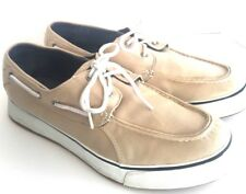 Sperry Top-Sider Mens size 12 boat shoes canvas gray/black/white EUC2-eyelet