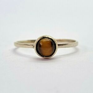 Brand New Sterling Silver 925 Tiger's Eye (Round) Ring, Size O