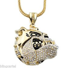 "Iced-Out Bulldog Pendant Micro Pave Gold Tone 36"" Franco Chain Hip Hop Necklace"
