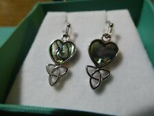 Tide Jewellery Celtic Heart Hook Earrings with inlaid Abalone Paua Shell. NEW.