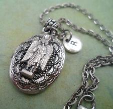 Beautiful Archangel Raphael Filigree Locket Necklace with Swarovski Crystal
