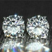 14K White Gold Finish 2Ct Round Gorgeous Cut Moissanite Solitaire Stud Earrings