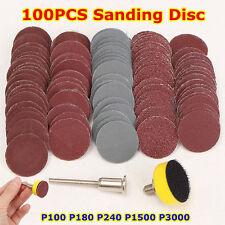 Abrasives 1*Hook + Loop Backer 1/8inch Shank + 100Pcs SandPaper Sanding Disc Set