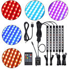 6x Car Interior 54LED Under Glow Light Kit RGB Neon Strip Music Remote Control