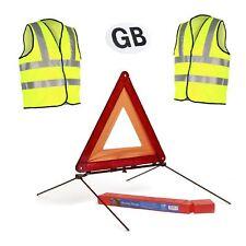 Grand réfléchissant triangle avertissement signe & 2 sécurité Gilets/Magnétique Voiture GB badge