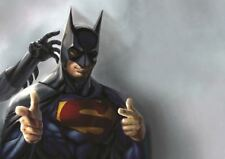 Pintura héroes de cómic Superman Batman Divertido Cartel de impresión de arte Regalo A3 GZ5699