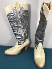 Frye 77885 Gray Silver Leather Embroidered Womens Cowgirl Western Boots sz 6.5 M
