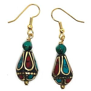 Turquoise Coral Earrings Hypoallergenic Gold Plated Surgical Steel Nepal ERB03B